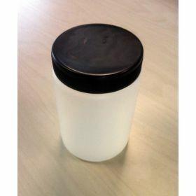 Pot rond HDPE 1000ml, topette + cape à vis noir