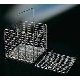 Panier carré en inox 160x160x140mm, avec anse