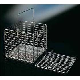 Panier carré en inox 300x300x200mm, avec anse