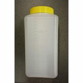 Flacon carré 2L PE grad.(ur.24h)+càv étanche jaune