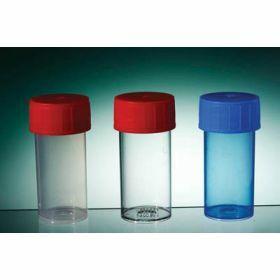 pot droit TP30C 40ml PP cape à vis rouge, stérile, avec étiquette