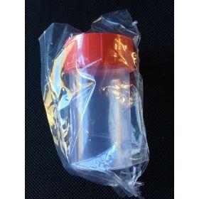 Pot droit TP35C 60ml PP cape à vis rouge, stérile/1