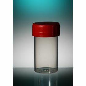 Pot droit TP35C 60ml PP cape à vis rouge, stérile