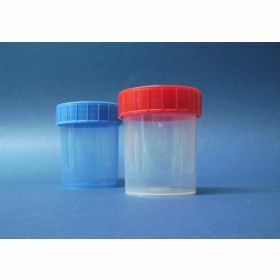 Pot droit 125ml PP , cape à vis rouge, stérile