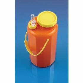 Flacon urines 24h brun 3 litres, brun, avec sonde à collection sous vide