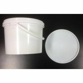 Seau 3L PP blanc +poignée en plast.+COUV.