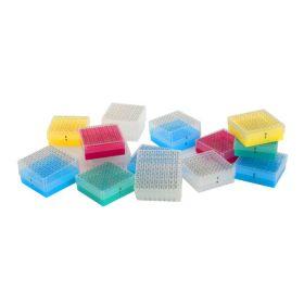 Cryoboîte en PP, alphanumérique, 9x9 puits, bleue
