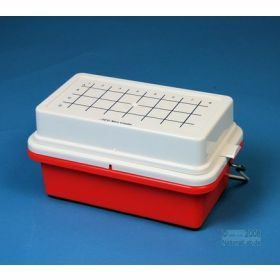 Minicooler 32x0,5>2ml rouge PC+couv+gel 5h<1°C
