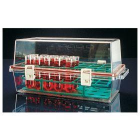 Conteneur bio-transport avec plateau, en polycarbonate, 370x185x173mm