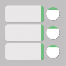 Étiquette blanc/vert rond D11mm + rectangle 33x13mm 500pcs