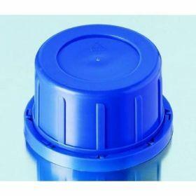 Bouchon vissant bleu avec bague d'inviolabilité, PP, GL54, pour flacons en verre carrés avec col large