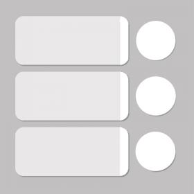 Étiquette blanc/blanc rond D11mm + rectangle 33x13mm 500pcs