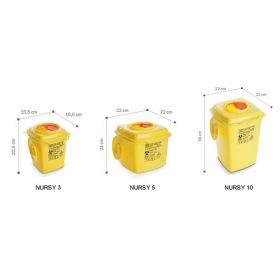 Conteneurs à aiguilles usagées type Nursy, carrés, jaune/rouge