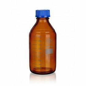 SIMAX Flacon laboratoire ambre avec bouchon bleu en PP et GL45
